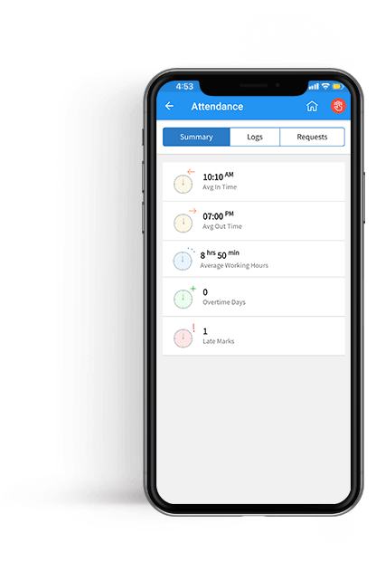 Teamnest Attendance management system preview of employee attendance tracking